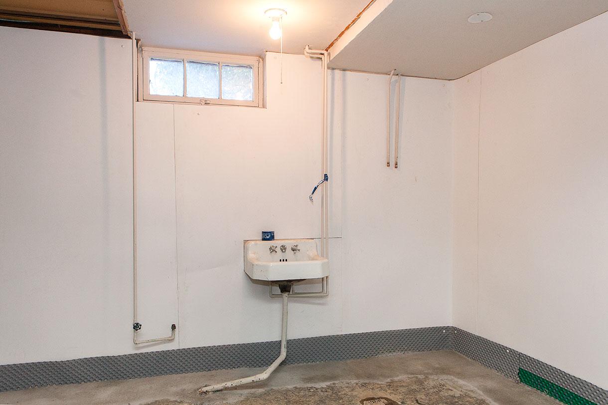 waterproof paneling installed and interior waterproofing complete